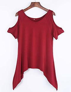 婦人向け カジュアル/普段着 夏 Tシャツ,シンプル ラウンドネック ソリッド レッド / ブラック / グリーン コットン 半袖 薄手