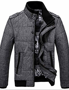 Men's Regular Padded Coat,Simple Casual/Daily Work Solid-Cotton Cotton Long Sleeves