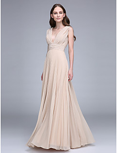 cheap Going Neutral-Sheath / Column V Neck Floor Length Chiffon Bridesmaid Dress with Draping Ruched by LAN TING BRIDE®