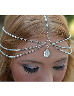 Women Casual Double Layer Alloy Tassel Drops Zircon Head Chain Hair Accessories  1 Piece
