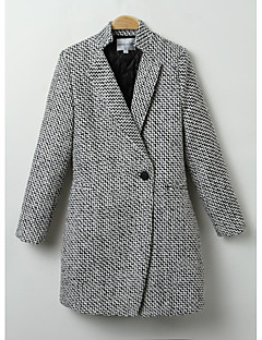 hesapli Women's Wool Coats-Kadın's Modern Stil Tek Renk Şık & Modern Dışarı Çıkma Kaban / Kış