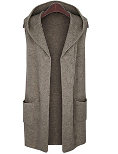 Women's Daily Plus Size Casual Street chic Long Cardigan,Solid Hooded Sleeveless Wool Cotton Acrylic Winter Fall Medium Stretchy