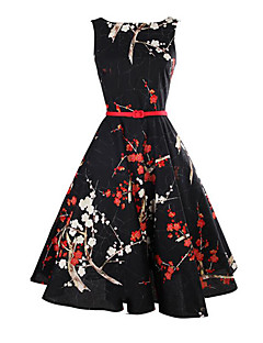 cheap Print Dresses-Women's Holiday Vintage Sheath Dress - Floral Black, Vintage Style