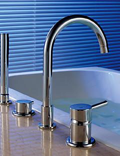 billige Sidesray-Moderne Art Deco/Retro Badekar Og Dusj Foss Regndusj Træk-udsprøjte Utbredt Hånddusj Inkludert Keramisk Ventil Fire Huller To Håndtak