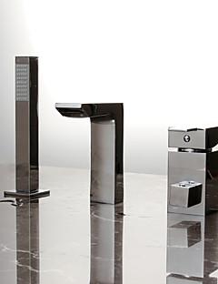 billige Sidesray-Moderne Badekar Og Dusj Utbredt Hånddusj Inkludert Keramisk Ventil Tre Huller Enkelt håndtak tre hull Krom, Badekarskran