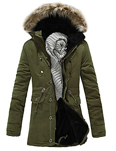 Men's Long Parka Coat,Simple Casual/Daily Plus Size Solid-Polyester Polyester Long Sleeves