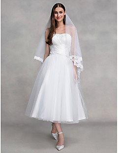 billiga A-linjeformade brudklänningar-A-linje Axelbandslös Ankellång Tyll Bröllopsklänningar tillverkade med Korsvis av LAN TING BRIDE® / Liten vit klänning