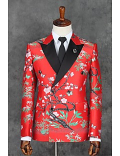 Red Patterns Slim Fit Polyester Suit - Slim Notch Double Breasted Two-buttons