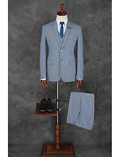 Pool Checkered / Gingham Standard Fit Polyester Suit - Notch Single Breasted Two-buttons