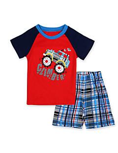 billige Tøjsæt til drenge-Drenge Tøjsæt Nattøj Daglig Patchwork, Bomuld Sommer Kortærmet Tegneserie Rød