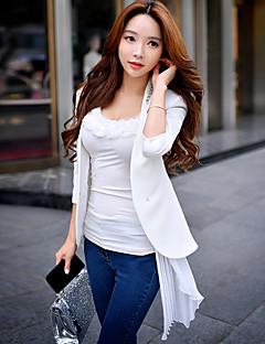 Damen Solide Einfach Street Schick Anspruchsvoll Ausgehen Arbeit Blazer,Ständer Frühling Herbst Langarm Standard Polyester ElasthanRüsche