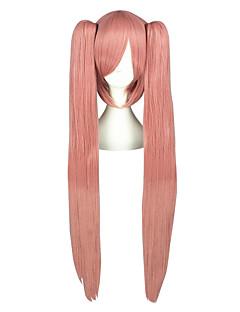 billige Anime cosplay-Cosplay Parykker Vokaloid Luca Rosa Lang / Rett Anime Cosplay Parykker 100 CM Varmeresistent Fiber Mann / Kvinnelig
