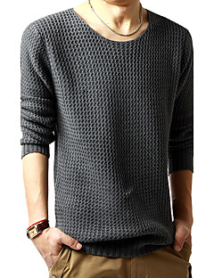 Men's Casual/Daily Simple Regular Pullover,Solid Round Neck Long Sleeves Wool Spring Fall Medium Micro-elastic