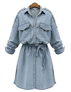 レディース ストリートファッション カジュアル/普段着 プラスサイズ シャツ ドレス,ソリッド シャツカラー 膝上 長袖 スパンデックス 夏 ミッドライズ マイクロエラスティック