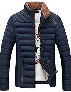 Men's Regular Padded Coat,Simple Casual/Daily Plus Size Solid-Polyester Cotton Long Sleeves