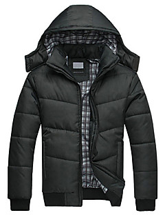 Men's Regular Padded Coat,Simple Casual/Daily Solid-Nylon Polypropylene Long Sleeves