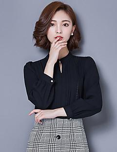 Femei În V Bluză Elegant / Muncă Simplu(ă) / Drăguț(e),Mată Manșon Lung Primăvară / Toamnă-Roșu / Alb / Negru Subțire Poliester