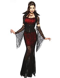 billige Halloweenkostymer-Vampyrer Cosplay Kostumer Kvinnelig Halloween Festival / høytid Halloween-kostymer Rød/Svart Blonder