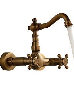 アンティーク 壁式 組み合わせ式 with  セラミックバルブ 二つ 二つのハンドル三穴 for  アンティーク銅 , バスルームのシンクの蛇口