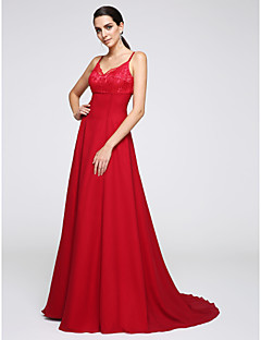 저렴한 특별한 이벤트 드레스-A-라인 스파게티 스트랩 코트 트레인 쉬폰 포멀 이브닝 드레스 와 레이스 으로 TS Couture®