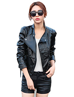 Women's Casual/Daily Street chic Fall / Winter Leather Jackets,Solid Stand Long Sleeve Black PU Medium
