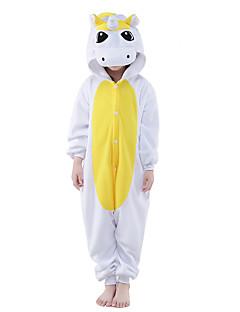 billige Kigurumi-Kigurumi-pysjamas Enhjørning Onesie-pysjamas Kostume Polar Fleece Gul Blå Cosplay Til Barne Pysjamas med dyremotiv Tegnefilm Halloween