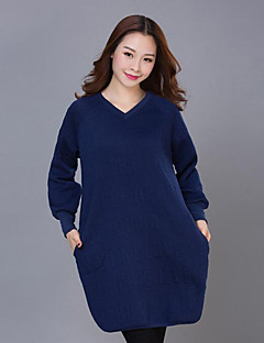Women's Plus Size / Casual/Daily Street chic Loose Dress,Jacquard V Neck Above Knee Long Sleeve Blue / Red Cotton Fall