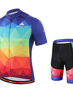 Miloto Cycling Jersey with Shorts Men's Short Sleeves Bike Shorts Sweatshirt Jersey Bib Tights Clothing Suits Quick Dry Moisture