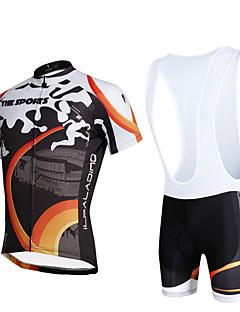 ILPALADINO שרוול קצר חולצת ג'רסי ומכנס קצר ביב לרכיבה לגברים יוניסקס אופניים מדים בסטיםנושם ייבוש מהיר עמיד אולטרה סגול רצועות מחזירי אור