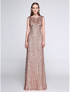 cheap Going Neutral-Sheath / Column Scoop Neck Floor Length Sequined Bridesmaid Dress with Sequin by LAN TING BRIDE®