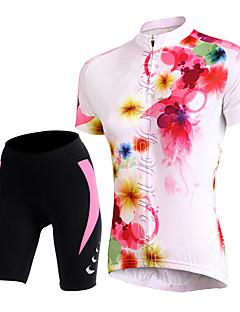 billige Sykkelklær-TASDAN Dame Kortermet Sykkeljersey med shorts Sykkel Shorts / Jersey / Fôrede shorts, Pustende, 3D Pute, Fort Tørring, Refleksbånd, Svettereduserende Blomster / botanikk / Elastisk