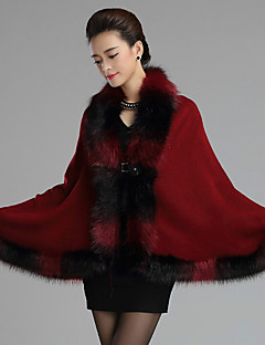 cheap Wedding Wraps-Sleeveless Faux Fur Casual Women's Wrap With Feathers / fur Button Capes