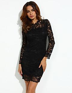 여성의 바디콘 드레스 파티/칵테일 솔리드,라운드 넥 무릎 위 긴 소매 레드 / 블랙 / 그린 면 가을