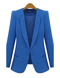 Damen Solide Einfach Arbeit Blazer,Schal Revers Frühling Herbst Lange Ärmel Standard Polyester