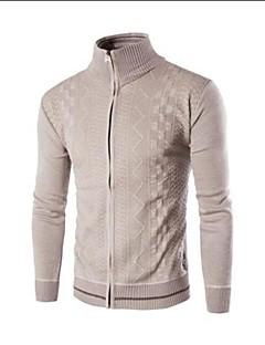 tanie Męskie swetry i swetry rozpinane-Męskie Wełna Rozpinany Jendolity kolor Długi rękaw