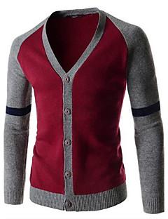 tanie Męskie swetry i swetry rozpinane-Męskie Na co dzień W serek Rozpinany Wielokolorowa Długi rękaw