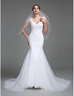 billiga Trumpet-/sjöjungfrubrudklänningar-Trumpet / sjöjungfru remmar Hovsläp Tyll Bröllopsklänningar tillverkade med Applikationsbroderi av LAN TING BRIDE®