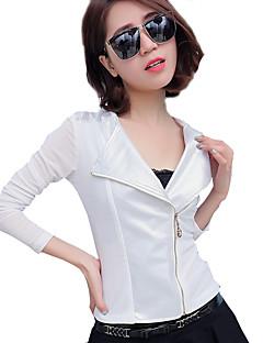 Damen Solide Sexy Vintage Lässig/Alltäglich Jacke,V-Ausschnitt Langarm Standard Kunstseide