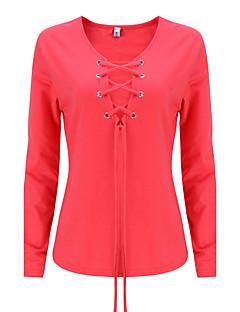 Χαμηλού Κόστους Nail The New-Season Fashion-Γυναικεία T-shirt Εξόδου Σέξι / Κομψό στυλ street Μονόχρωμο,Μακρυμάνικο Λαιμόκοψη V Φθινόπωρο / Χειμώνας Λεπτό Βαμβάκι / ΡεϊγιόνΚόκκινο /