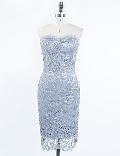 Sheath / Column Sweetheart Knee Length Lace Satin Cocktail Party Dress with Beading Appliques Lace by Shang Shang Xi
