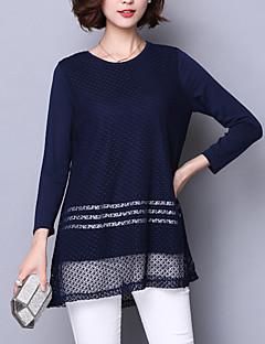 billige Plusstørrelser-Dame - Patchwork Bomuld, Blonder I-byen-tøj Plusstørrelser T-shirt