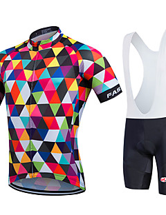 cheap Cycling Clothing-Fastcute Men's Women's Short Sleeves Cycling Jersey with Bib Shorts - Rainbow Bike Bib Shorts Bib Tights Jersey Clothing Suits, Quick