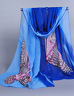 Women's Chiffon Owl Print Scarf,Royal Blue/Orange/Pink/Purple/Blue/Fuchsia/Gray