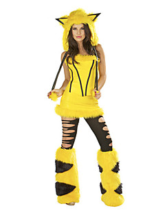 billige Voksenkostymer-Bunny Jenter Cosplay Kostumer Party-kostyme Kvinnelig Jul Halloween Karneval Festival / høytid Halloween-kostymer Gul Vintage