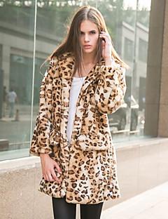 Femei Palton Piele Ieșire / Casul/Zilnic / Petrecere/Cocktail Sexy / Simplu(ă) / Chinoiserie,Mată / Leopard Manșon Lung Toamnă / Iarnă