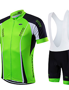 368c00184 Fastcute Men s Short Sleeve Cycling Jersey with Bib Shorts - Black Green  Solid Color Bike Clothing Suit Breathable Quick Dry Sports Coolmax® Lycra  Solid ...