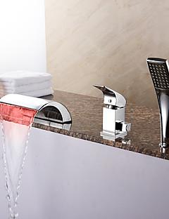 お買い得  ウォーターフォールタイプ-コンテンポラリー ローマンバスタブ 滝状吐水タイプ ハンドシャワーは含まれている LED セラミックバルブ 三つ シングルハンドル三穴 クロム, 浴槽用水栓