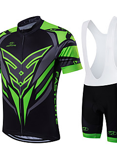 cheap Cycling Jersey & Shorts / Pants Sets-Fastcute Men's Women's Short Sleeves Cycling Jersey with Bib Shorts - Green/Black Bike Bib Shorts Bib Tights Jersey Clothing Suits, Quick