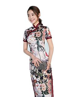 tanie Etniczne & Cultural Kostiumy-Tradycyjne Damskie Sukienki Sukienka typu A-Line Sukienka ołówkowa Cosplay Czerwony Niebieski Fuschia Kwiaty Krótki rękaw Długi Długość