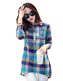 Women's Daily Casual Spring Fall T-shirt,Plaid Shirt Collar Long Sleeves Polyester Medium